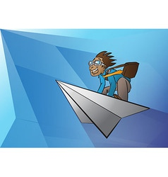Bussiness man on the paper aeroplane vector