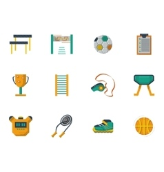 Physical culture flat color icons set vector