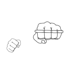 Clenched fists holding brass-knuckle punch vector
