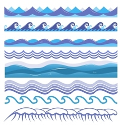 Ocean sea waves surfs and vector