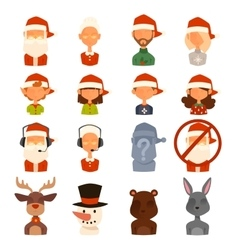 Santa Claus family wife kids avatars vector image