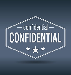 Confidential hexagonal white vintage retro style vector