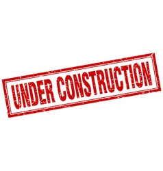 under construction red square grunge stamp on vector image