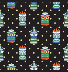 African totem mask seamless polka dot dark pattern vector