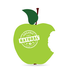 Apple organic and natural in green color vector