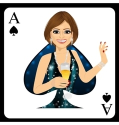 Blonde woman representing ace of spades card vector
