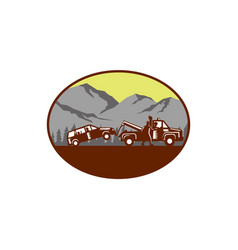 Car being towed away mountains oval woodcut vector