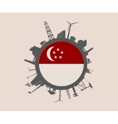 Circle with industrial silhouettes singapore flag vector