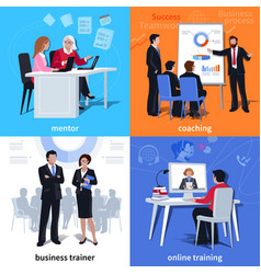 coaching flat compositions vector image vector image