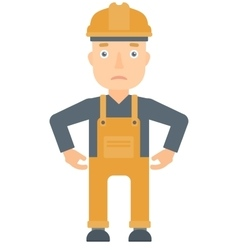 Depressed caucasian builder in hard had vector