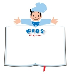 Design template for Kids Menu with funny cook boy vector image vector image