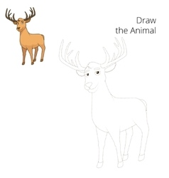 Draw forest animal deer cartoon vector
