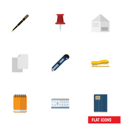 Flat icon equipment set of copybook nib pen vector
