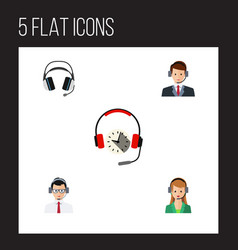 Flat icon hotline set of help secretary vector