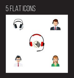 flat icon hotline set of help secretary vector image vector image