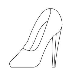 High heel shoe elegance fashion femenine outline vector