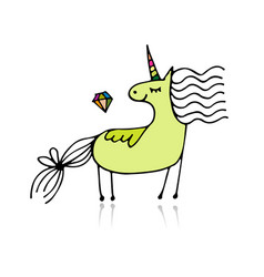 magic unicorn sketch for your design vector image
