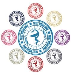 medical snake stamp vector image