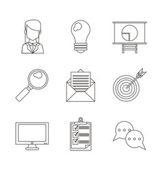 monochrome silhouette with icons set in the vector image