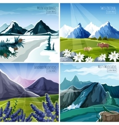 Mountain landscapes set vector
