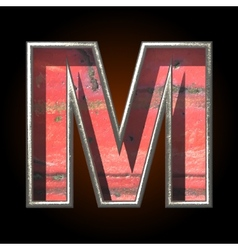 Old metal letter m vector