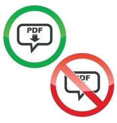 Pdf download message permission signs vector