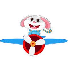 Rabbit cartoon riding a plane vector