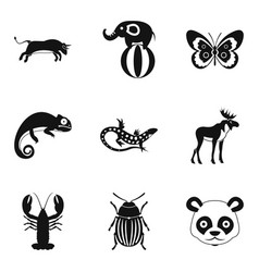Rare animal icons set simple style vector