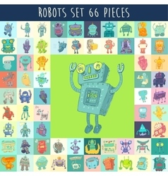 Robots set hand drawing vector