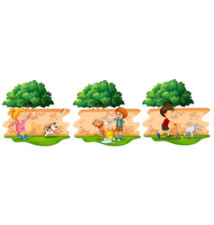 Scenes with children and pet dog vector