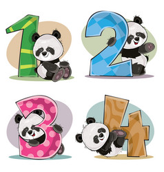 set of cute baby panda bears with numbers vector image vector image