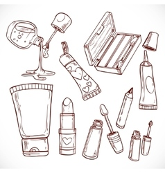 Set of doodles on cosmetics lipsticknail polish vector image