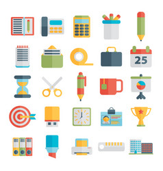 Set of office icons in flat design vector
