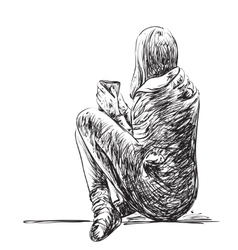 Sketch of woman with coffee seating isolated vector