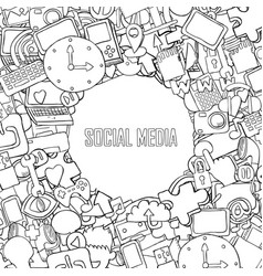 Social media background with media icons vector