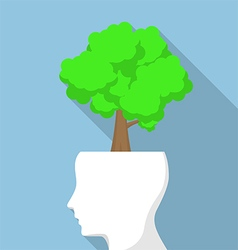 Tree on white head vector
