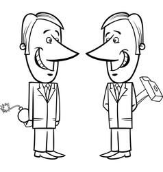 Two false businessmen cartoon vector