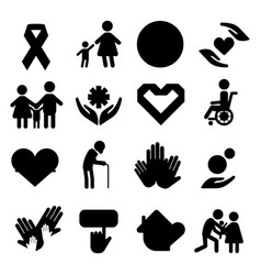 Volunteer silhouettecharity donation set vector