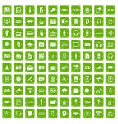 100 audio icons set grunge green vector