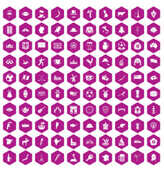 100 map icons hexagon violet vector