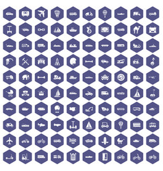100 transport icons hexagon purple vector image vector image