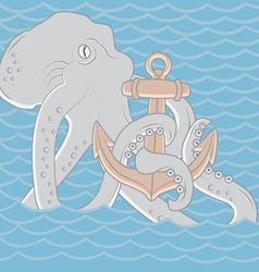 Octopus with anchor background vector