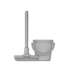 Mop and bucket icon black monochrome style vector