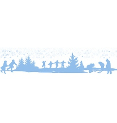 Kids playing winter games card vector