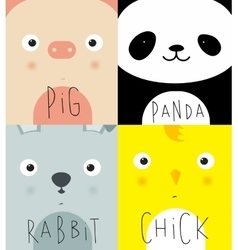 Animal muzzles pig panda rabbit chick vector