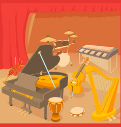 Musical instruments concept cartoon style vector