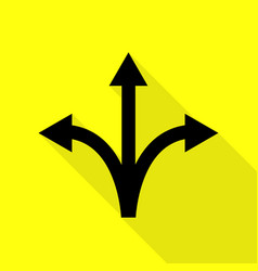 three-way direction arrow sign black icon with vector image