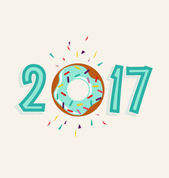happy new year 2017 donut food greeting card vector image