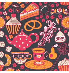 Tea seamless doodle teatime backdropcakes to vector
