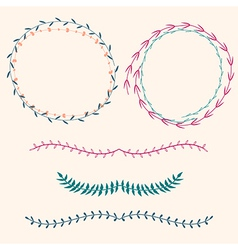 set with floral frames and borders vector image